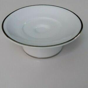 White Ceramic Pedestal Soap Dish Chrome Rim
