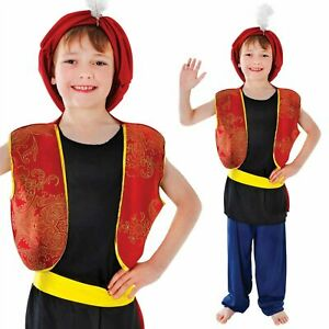 Arabian Bandit Boys Costume Bollywood Genie Sinbad Fancy Dress Outfit New