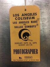 1973 Rams vs. Cowboys Photographer Pass