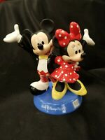 Authentic Walt Disney World Ceramic Mickey Mouse And Minnie Mouse Figurine