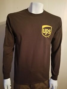 United Parcel Service Brown UPS Ultra Cotton Long Sleeve T-Shirt Men's Sz Large