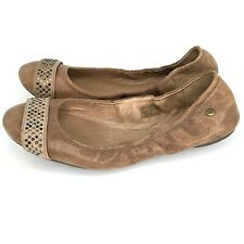 UGG Australia Womens Sz 10 Ballet Flats Brown Leather Crystal Embellished Shoes