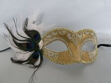 Venetian Masquerade Party Mask - Cream & Gold With Peacock Feathers - NEW -
