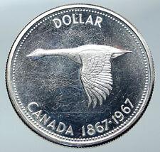 1967 CANADA Confederation Founding OLD Goose VINTAGE Silver Dollar Coin i85917