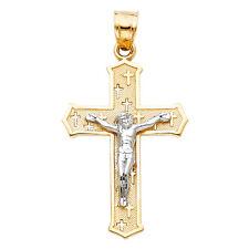 14k Yellow White Gold Cross Jesus Crucifix Pendant Charm Free Valentino Chain