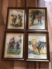 More details for set of 4 frank reynolds golfers framed tiles