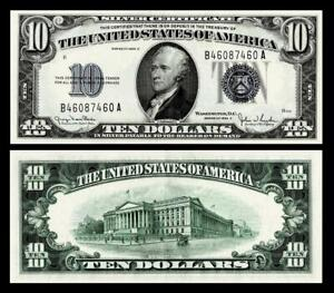 1934-D $10 SILVER CERTIFICATE NOTE~~ABOUT UNCIRCULATED