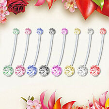 8pcs Maternity Belly Bar Flexible Crystal Pregnancy Navel Ring Belly Butto NYF