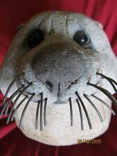 Rare Original Garden Animal Sculpture- Otter Head- Artist Lou Rankin (1929-2016)
