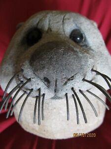 Lou Rankin Signed Original Cement Otter Head