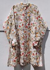 "NEW Eskandar FLORAL Linen A-line Long 39"" Mandarin Collar Tunic Top (1) $1290"