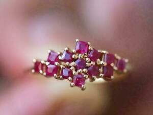 2.00CT Princess Cut Ruby Gorgeous Cluster Engagement Ring 14K Yellow Gold Finish