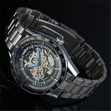 Winner Black Dial Mens Skeleton Stainless Steel Automatic Mechanical Wrist Watch