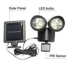 22 LED Solar Power PIR Motion Sensor Wall Light Dual Head Outdoor Garden Lamp