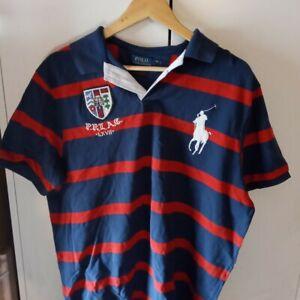 Mens Ralph Lauren Rugby Polo Shirt XL Short Sleeve Red Navy