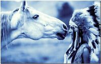 Native Indian Girl and Horse High Quality Canvas Print Poster 14X22 Blue Drawing