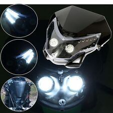 Universal Motorcycle Motocross Headlight Fairing Light Dual Street Fighter Lamp
