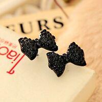 1Pair Cute Black Rhinestone Crystal Bowknot Earrings Bow Tie Ear Stud Women