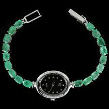 Sterling Silver 925 Genuine Emerald & Lab Created Diamond Watch 7.5 Inch