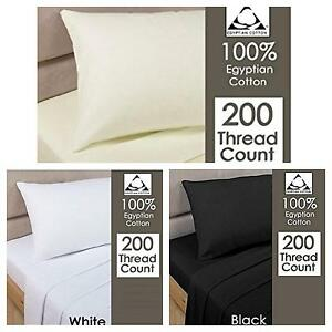 2xPillow Case Luxury 100% Egyptian Cotton Housewife 200 Thread Count   Pair Pack
