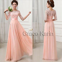 Womens LACE Chiffon Long Maxi Evening Cocktail Party Wedding Dresses Half Sleeve
