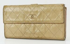 Authentic CHANEL Gold Quilted Leather CC Long Wallet Coin Purse #40054