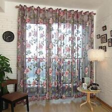 Weinrot Blumen Voile Vorhang Vorhänge Gardine Fenster Vorhänge Drape