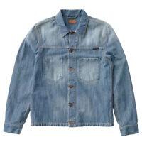 Nudie Mens Regular Fit Organic Denim Jeans Jacket |Ronny Indigo Dungaree |XS