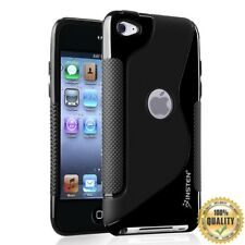 TPU Rubber Skin Case For Apple iPod touch 4th Generation, Frost Black S Shape