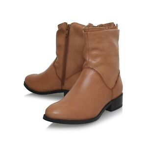 Carvela Kurt Geiger Leather Boots Low Block Heel Ankle Tan Womens Size 4 to 4.5