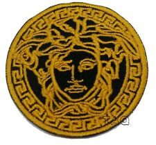 GOLDEN MEDUSA HEAD LOGO IRON ON/SEW ON EMBROIDERED PATCH 214