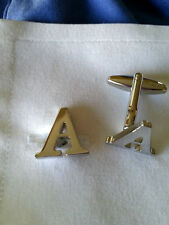 Initial Letter Silver colored Stainless Steel Cufflinks - A