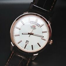 Orient Day Date Rose Gold White Dial Automatic Watch FEV0U002WH New