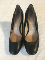 Next Women's Black Leather Collection, suede Heel Court Shoes Size 4 (C1).