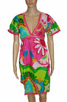 NEW! NYL Pink Green Tropical Sparkly Sequins Floral Knee Length Dress Size 8 10