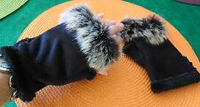 paire de gants mitaines femme façon daim noir taille S NEUF