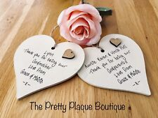 Personalised Godparent Gift Wooden Heart Plaque Thank you Christening Gift