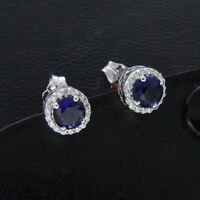 Round Cut 1.50 Ct Blue Sapphire & Diamond 14k White Gold Over Halo Stud Earrings