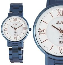 Damen Armbanduhr Weiß/Perlmutt Roségold/Blau Edelstahl JU10047 JUST 99,95€ UVP