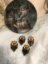 Peek-A-Whoo Screech Owls Plate By Joe Thornbrugh Knowles #14411C Euc &4 Owls Euc