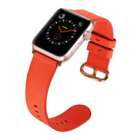 PASBUY 53B Genuine Leather Band for Apple Watch Series 4 3 2 1 42/44mm RedOrange