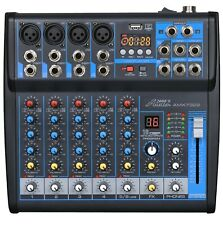 Audio2000s AMX7322 6-Ch.Audio Mixer w/USB Interface,Sound Effects& Bluetooth-MR