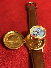 VINTAGE 1992 DISNEY STORE ALADDIN GENIE POP UP WATCH FACE ON COVER LEATHER BAND