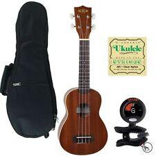 Kala KA-S Soprano Ukulele Uke w/ Padded Gig Bag SN-6 Tuner & D'Addario Strings