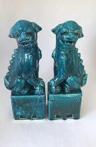 Turquoise Foo Dogs Pair Ceramic