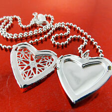 NECKLACE CHAIN REAL 925 STERLING SILVER S/F ANTIQUE HEART LOCKET PENDANT FS3A880