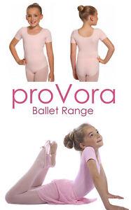 PINK BALLET LEOTARD proVora Girls/Toddler Short Sleeved Cotton Age 2 to 8yrs