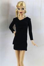 & fait main style vintage petite robe noire / outfit pour poupée Barbie Silkstone h05u