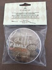 Pair CYPRESS ABSORBENT CAR COASTERS SET OF 2 Faith Family Basketball Friends