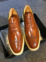 Men's Wing Tip Oxford Retro Platform Wedge Heel Punk Brogue Lace Up Shoes Chic